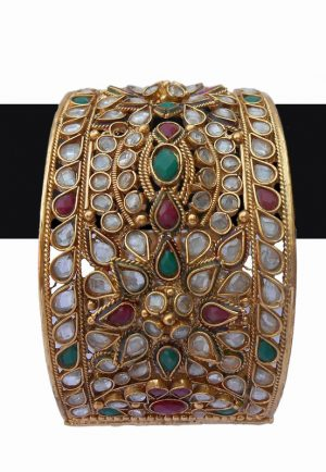 Buy Latest Designs Bridal Bangles in Red, Green and White Stones-0