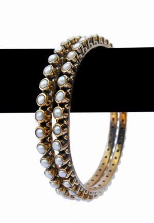 Finely Designer Bridal Bangles with White Pearl Stones and Antique Polish-0