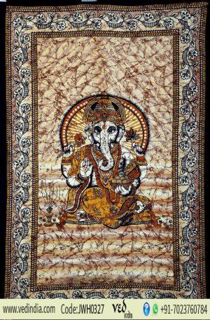 Brown Hindu God Ganesha Print Bohemian Tapestry Wall Hanging-0