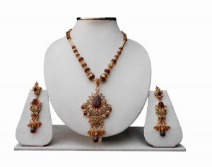 Brown Stones Indian Pendant Set With Designer Earrings -0