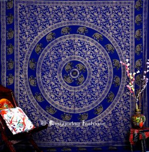 Buy Dark Blue Round Elephant Black Print Beach Tapestry Bedspread -0