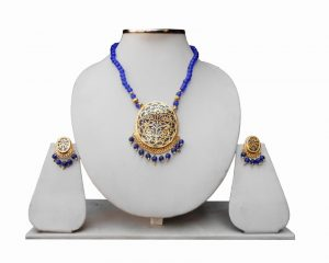 Buy Ethnic Indian Blue Thewa Pendant Set for Women with Antique Polish -0