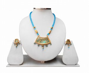 Buy Ethnic Indian Thewa Necklace Set in Turquoise-0
