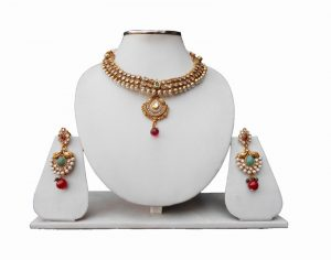 Buy Green and Red Ethnic Necklace and Earrings Set from India-0