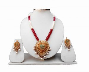 Buy Online Multi-Color Thewa and Polki Pendant Set with Earrings-0
