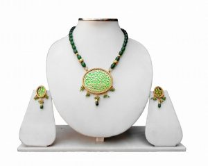 Buy Online Partywear Green Beads Thewa Pendant Set For Women-0
