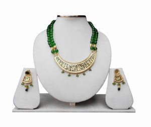 Buy Online Traditional Thewa Jewelry Set in Green Beads-0