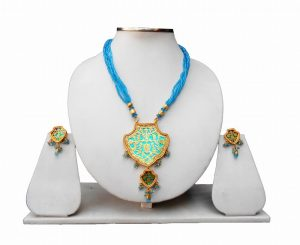 Buy Thewa Pendant Set with Earrings in Turquoise with Antique Polish-0