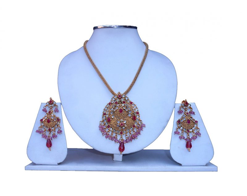 Buy Online Women's Matching Pendant Set from India with Earrings -0