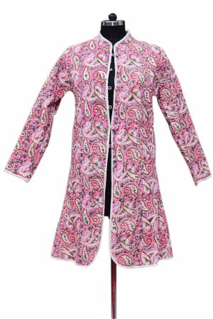 Latest Designer Classic Long Quilted Jacket for Womens From India-0