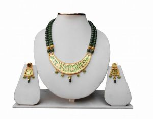 Classy Bridal Thewa Necklace With Fashionable Earrings in Green Beads -0