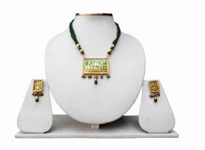 Classy Bridal Thewa Pendant with Designer Earrings in Green Beads-0
