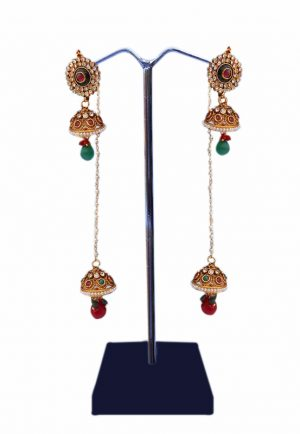 Beautiful and Classy Jhumka Earrings in Red and Green Stones for Girls-0