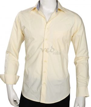 Classy Men's Party wear Fashion Cotton Shirt in Cream -0