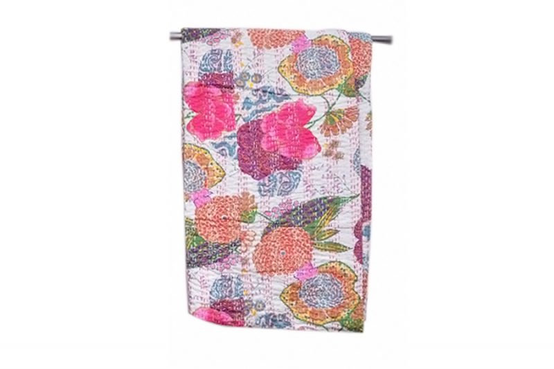Buy Fashionable White Cotton Bed Sheet With Colorful Designs-0