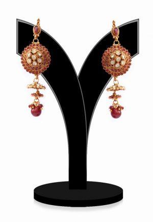 Red Stone Studded Dangler Jhumkas for Festivals and Weddings-0