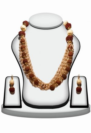 Designer Beaded Necklace Set in White Stone with Rudraksh -0