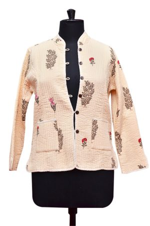 Designer Fashionable Off-White Quilted Jackets for Women From India-0