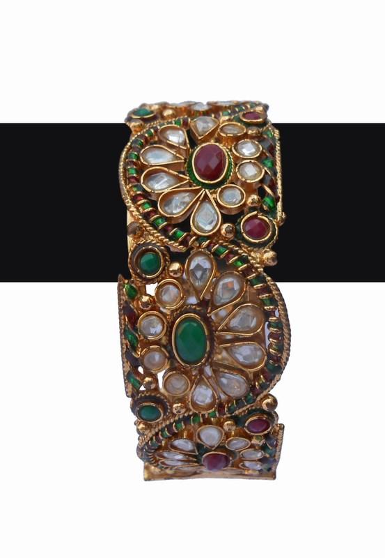 Designer Indian FashionPolkiBanglesin Red, Green and WhiteStones-0