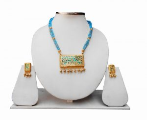 Designer Jaipur Thewa Necklace and Earrings Set in Turquoise-0
