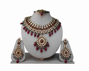 Designer Kundan Necklace Set With Earrings in Red and Green Stones-0