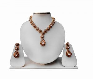 Designer Minakari Necklace and Earrings Jewelry Set from India-0