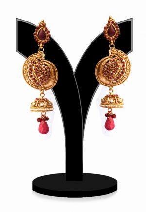 Beautiful Designer Polki Earrings with Red Stones for Weddings-0