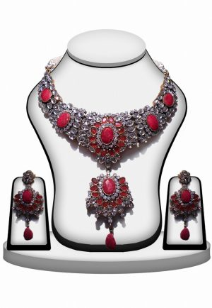 Designer Red Polki Necklace with Earring for Women-0