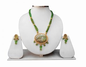 Designer Thewa Pendant Set with Earrings in Green Beads and Antique Polish-0