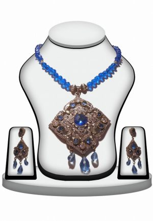 Designer Trendy Victorian Pendant Set for Girls in Blue Stones-0