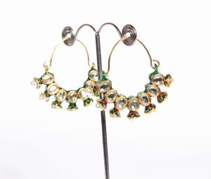 Designer Bali Style Fashion Earrings in Elegant White Kundan Stones-0