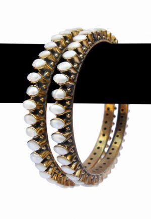 Designer Traditional Indian Desire Party Bangle with White Pearls-0