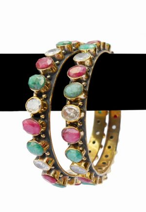 Buy Online Designer Desire Bangles in Red, Green and White Stones-0