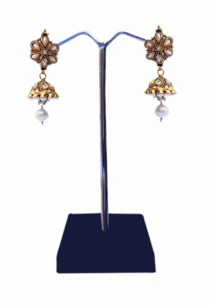 Elegant Jhumka Earrings for Women in White Kundan Stones and Pearls-0
