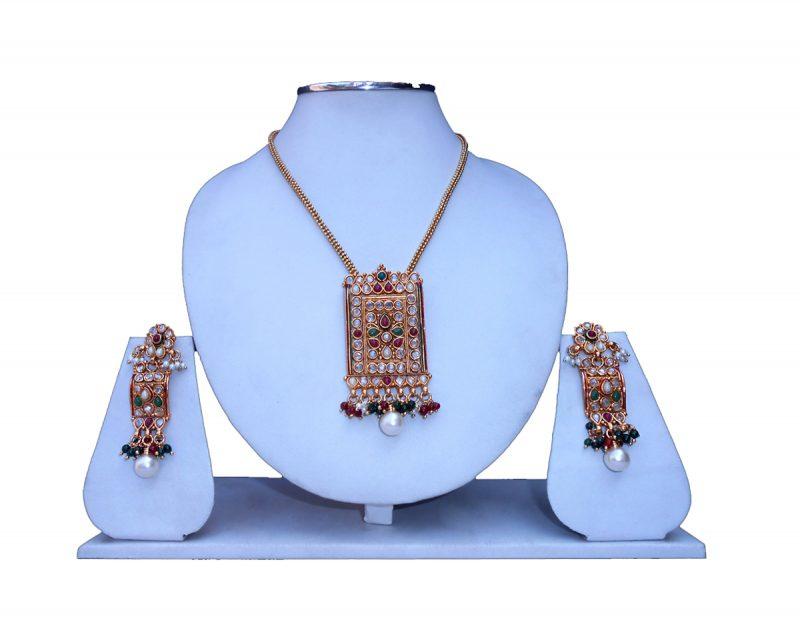Elegant Pendant Set in Polki Stones with Earrings from India-0