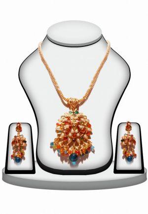 Ethnic Designer Polki Jewelry Set With Earrings in Multi-Color Stones-0