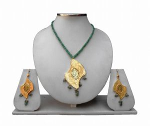 Ethnic Green Thewa Jewelry Set with Earrings and Antique Polish-0