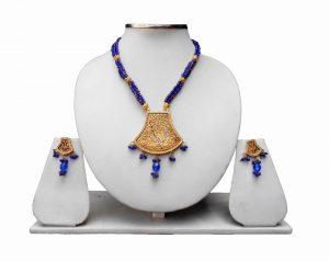 Ethnic Indian Blue Thewa Jewelry Set with Antique Polish -0