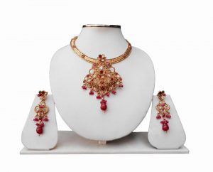 Ethnic Red Polki Stones Pendant Set with Little Drops-0