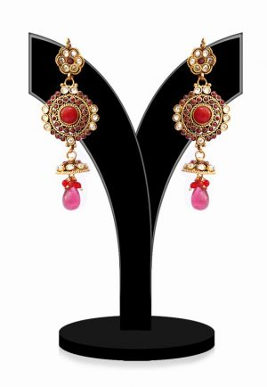 Exclusive Polki Earrings in Red and White Stones for Girls From India-0