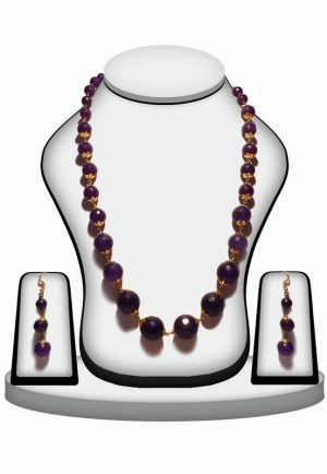 Fancy Necklace Set with Designer Earrings from India in Purple Stones-0