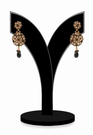 Buy Online Black and White Stones Embellished Polki Earrings-0
