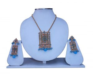 Fancy Party Wear Polki Pendant Set with Earrings Available Online-0