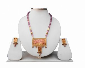 Fashion Thewa Jaipur Jewellery Set in Brown Beads -0