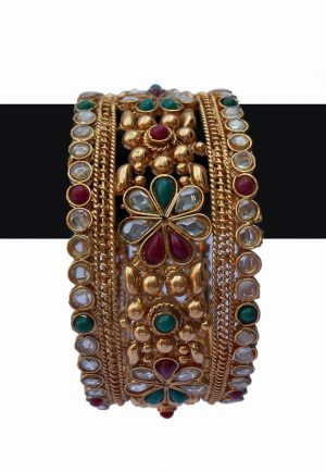 Flower Design Fashion Bangles with Red, Green and White Stones-0