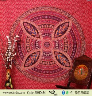 Shop Flower Mandala Psychedelic Tapestry Throw Bedspread in Red-0