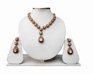 Gorgeous Modern Jewelry Set in Indian Minkari Work for Weddings-0
