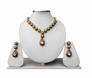 Green and Brown Jaipur Design Minakari Necklace Earrings From India -0