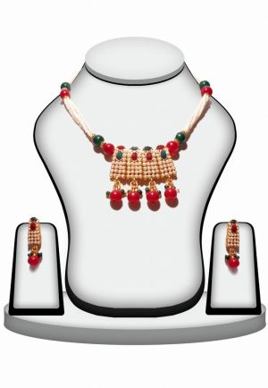 Green and Red Stone Traditional Polki Pendant Set for Women-0