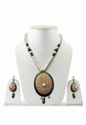 Attractive Green and White Pacchi Work Stones Necklace Set for Women -0
